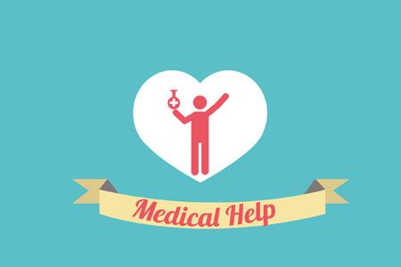 Medical help Illustration over blue colorbackground Vector