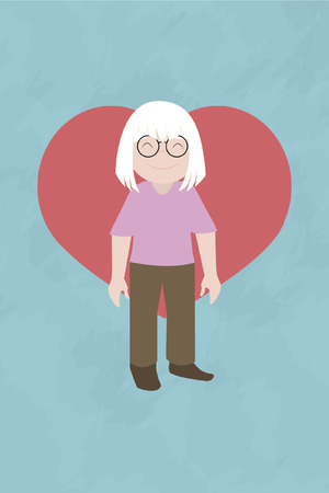ble: grandmother illustration over ble color background