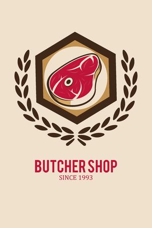 deli: meat stamp illustration over  color background