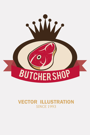 deli meat: stamp to meat with a crown illustration over white color background Illustration
