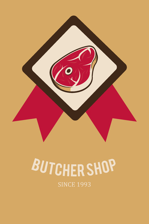 deli meat: meat stamp illustration over yellow color background