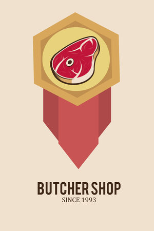 deli meat: meat stamp illustration over color background