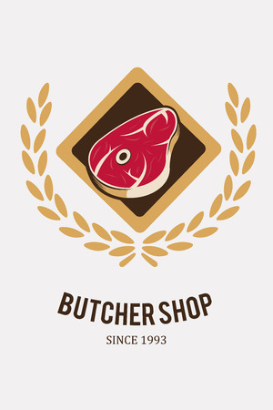 deli meat: meat stamp, diamond illustration over white color background