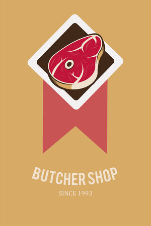 deli meat: meat stamp, diamond illustration over yellow color background Illustration