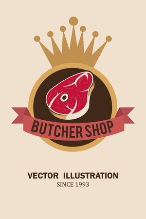 deli meat: meat stamp, circle and crown illustration over white color background