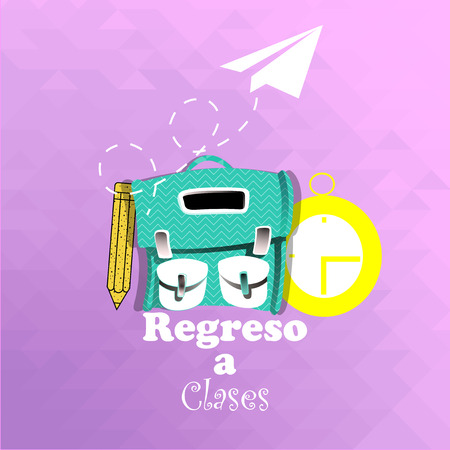 school supplies, bag and clock over pink  color  background Illustration