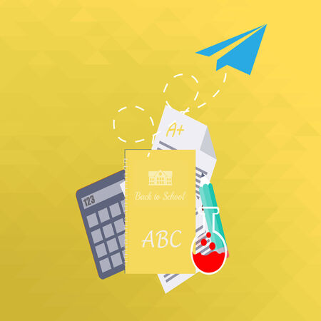useful: school supplies, notebook and paper plane  over yellow  color  background