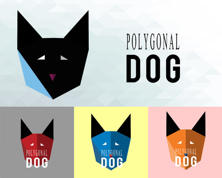 wolf head: poligonal dog illustration over color background