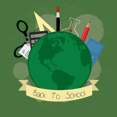 school supplies, world and elements illustration over  green color background Vector