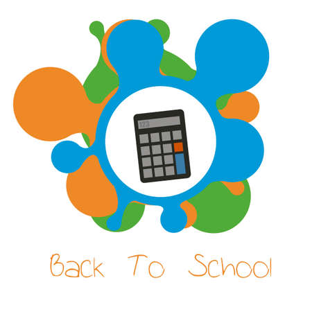 flayers: school supplies, calculator illustration over color background