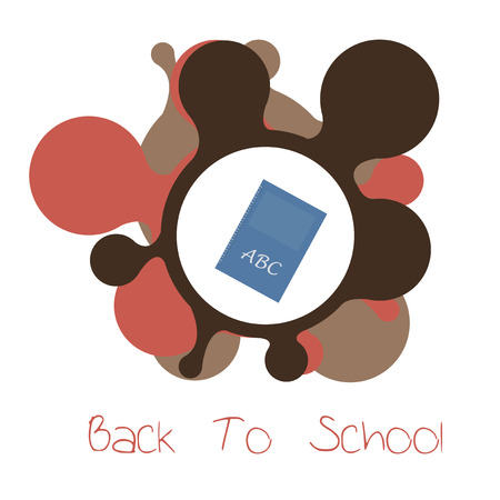 flayers: school supplies, blue note book illustration over white  color background Illustration