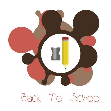 flayers: school supplies, sharperner and pencil illustration over white  color background Illustration