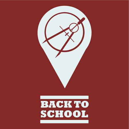 school supplies, compass illustration over red color background Illusztráció
