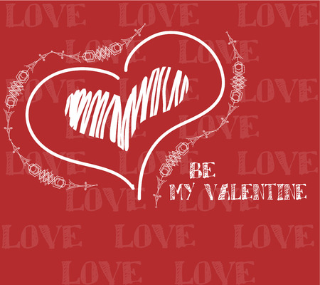 be my valentine illustration, love textand heart over color background Illustration