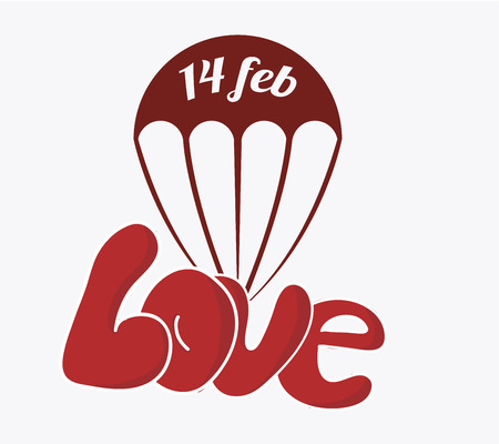 14 of february: 14 february illustration, love and parachute over color background Illustration
