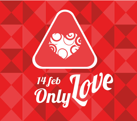 14 of february: 14 february illustration, love text and heart label over geometric texture background