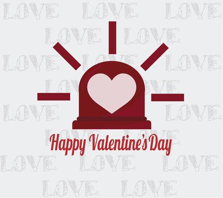 emergency light: happy valentine illustration,emergency light and heart over color background