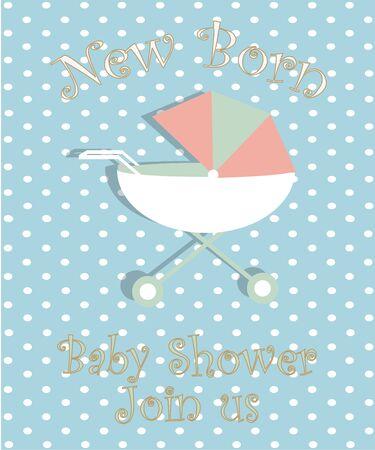 fondo para bebe: objetos para beb�s ilustraci�n, cama nido sobre fondo de color azul