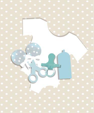 fondo para bebe: objetos para beb�s ilustraci�n, chupete y mameluke sobre puntos patr�n de fondo