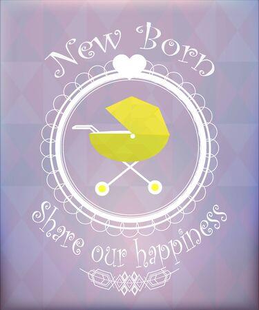 fondo para bebe: objetos para beb�s ilustraci�n, cama nido amarillo sobre fondo de color Vectores