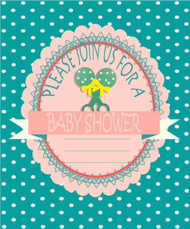 fondo para bebe: objetos para beb�s ilustraci�n, sonajeros sobre el sello y la etiqueta, de fondo