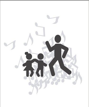 niños danzando: Papá bailando con su ilustración los niños sobre el color blanco y el patrón de fondo de texto