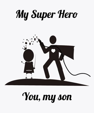 father and son with their costumes illustration over white color and text pattern background