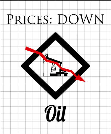 oil exploration: falling prices of oil and fuel, tower exploration on color background