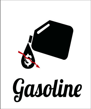gallon: falling prices of oil and fuel, gallon and price on color background