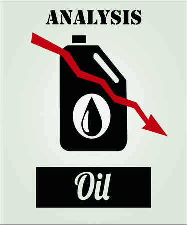 gallon: falling prices of oil and fuel, gallon of gasoline on color background Illustration