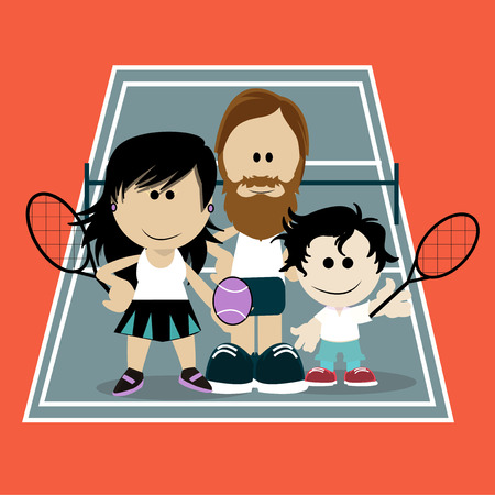 Dads playing tennis with his son on color background Vector