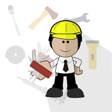 pocket knife: engineer with his pocket knife over background with tools icons Illustration
