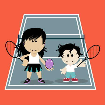 mom playing tennis with his son on color background Vector