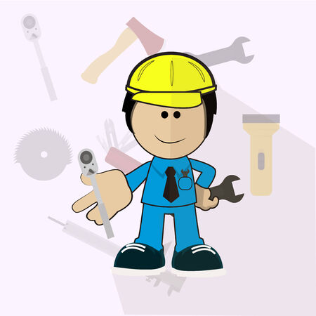 ratchet: Automotive Engineer holds in his hand ratchet Illustration