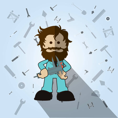 crescent wrench: man holding wrench over blue color backround
