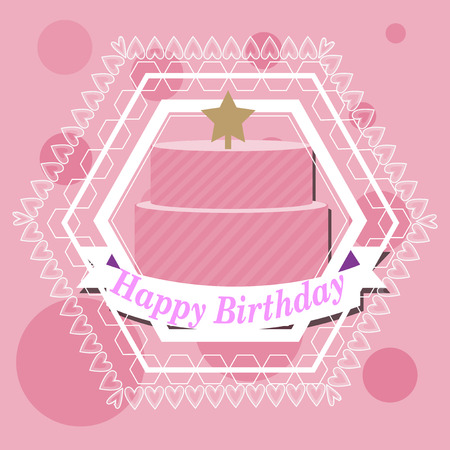 happybirthday: Happybirthday, cake and star illustration over color background