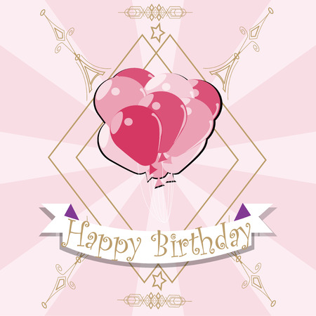happybirthday: Happybirthday, pink balloons illustration over color background