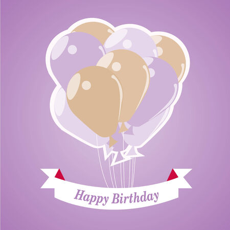 happybirthday: Happybirthday illustration, beige and purple balloons over color background