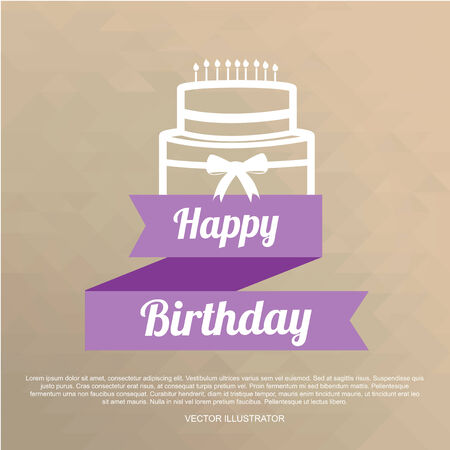 happybirthday: Happybirthday illustration, cake and ribbon over color background Illustration