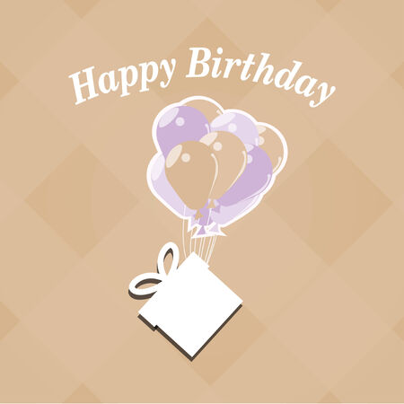 happybirthday: Happybirthday illustration, box hanging balloons, over color background