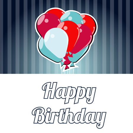 happybirthday: Happybirthday illustration,blue and red balloons over stripes background