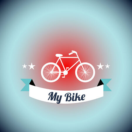 degrade: white Bicycle  illustration over blue degrade background Illustration