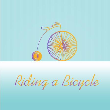 degrade: rue high Bicycle, degrade stamp illustration over blue color background