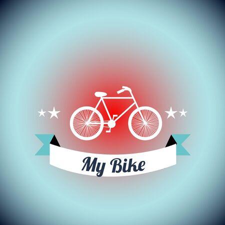 to degrade: ilustraci�n de la bicicleta blanca sobre fondo azul degrade