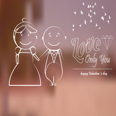 happy couple and love text,  over blur background Vector