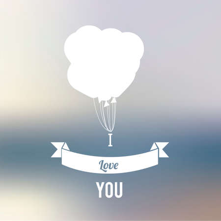 degrade: balloons and love text over degrade background