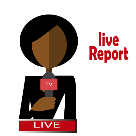 afro woman journalist live and direct Vector