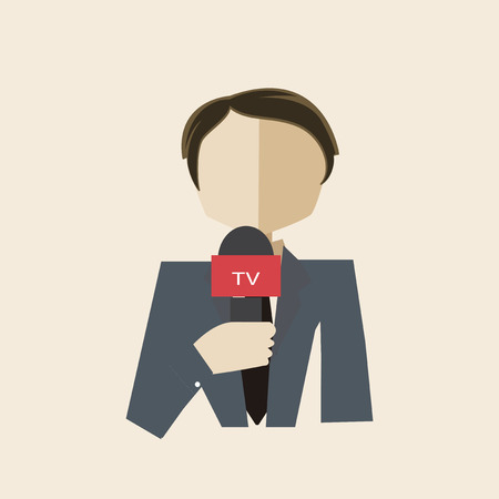 gray suit: journalist in gray suit live and direct Illustration