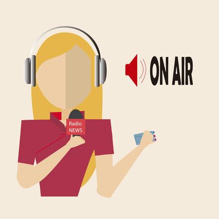 blondie woman journalist radio over  color background Vector