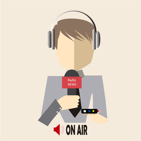 journalist in gray shirt on air radio over  color background Vector